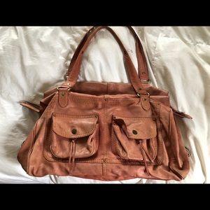 Cynthia Rowley leather big tote w pockets zipper